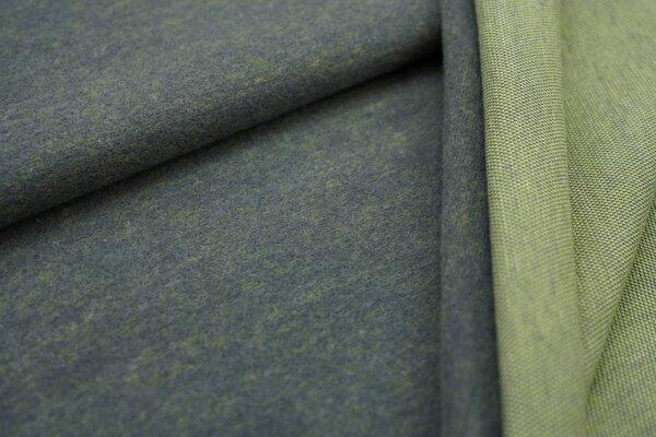 Jacquard-Jersey dunkelgrau Uni mit off white und hellgrüner Rückseite