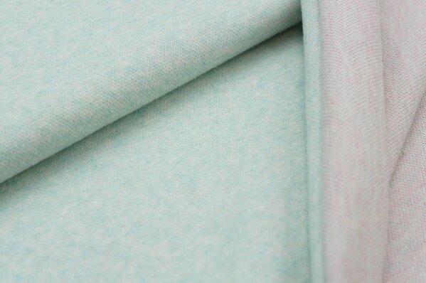 Jacquard-Sweat Mia uni pastell mint Melange mit pink Melange / off white