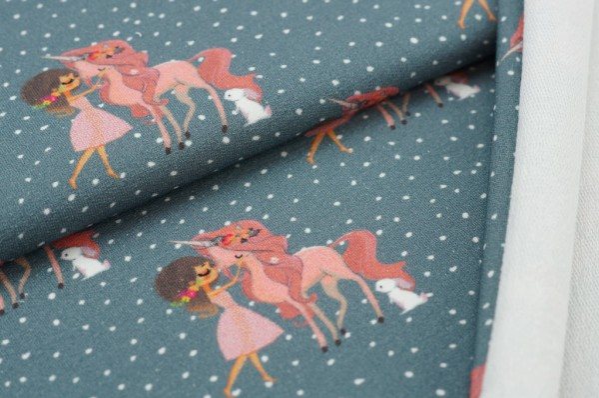 Baumwoll-Sweat Digitaldruck Mädchen Einhorn Hase und Punkte auf grau