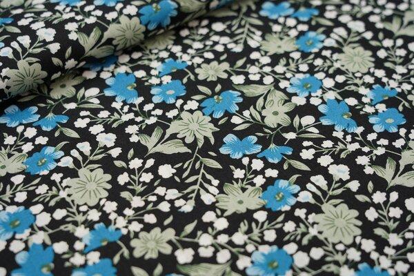 Baumwollstoff mit Blumen schwarz / altmint / weiß / petrol blau