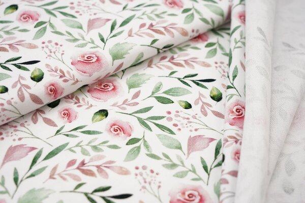 Baumwoll-Sweat mit Rosen und Blättern auf weiß