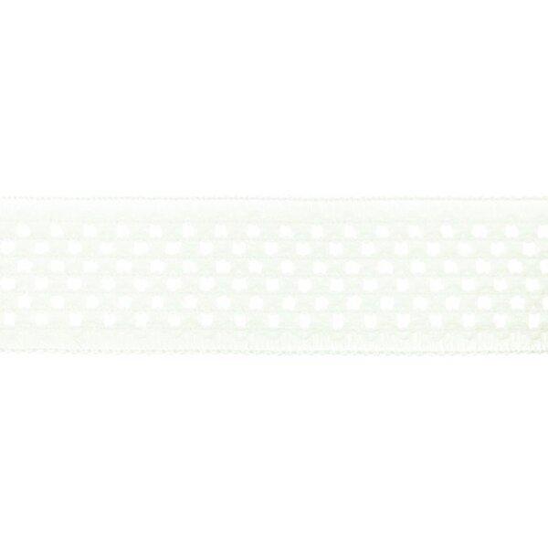 Elastisches Baumwollband in Häkeloptik uni off white 50 mm
