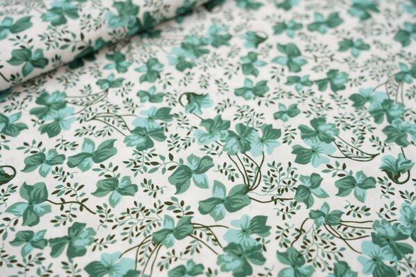 Baumwollstoff grüne Blumen auf weiß