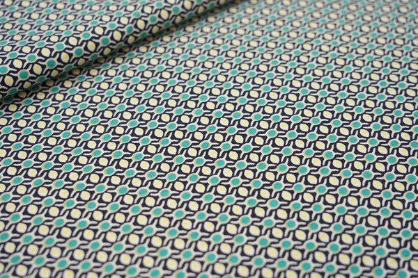 Baumwoll-Jersey Retro Gitter-Punkte-Muster dunkelblau türkis gelb oliv weiß