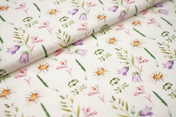 Digitaldruck Baumwoll-Jersey Aquarell mit Pflanzen Gräser Gänseblumen in lila grün gelb auf off whit