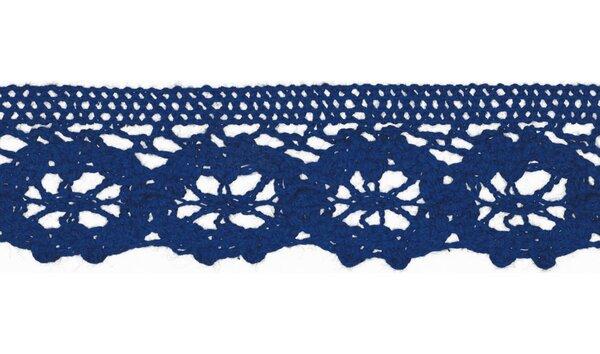 Baumwolle Spitzenborte Häkelborte uni kobaldblau 30 mm breit Klöppelspitze