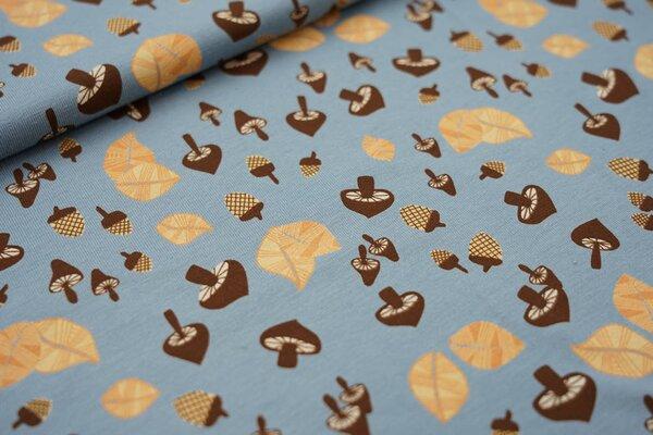 Baumwoll-Jersey Eicheln Blätter und Pilze auf altblau