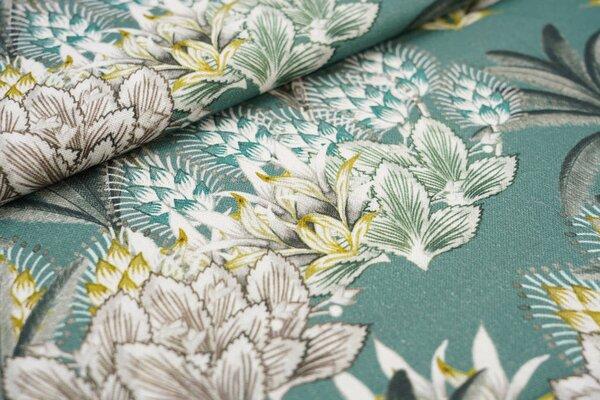 Canvas-Stoff Dekostoff Pflanzen Farne Blätter grün / weiß / braun / gelb