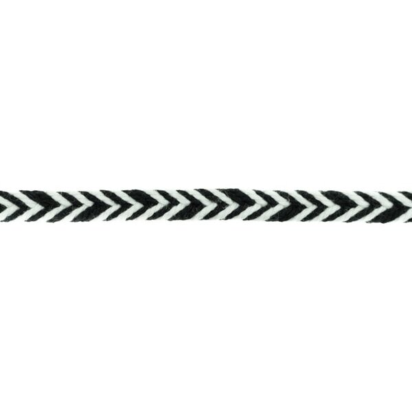 Baumwollkordel Fischgrät weiß / schwarz 10 mm breit