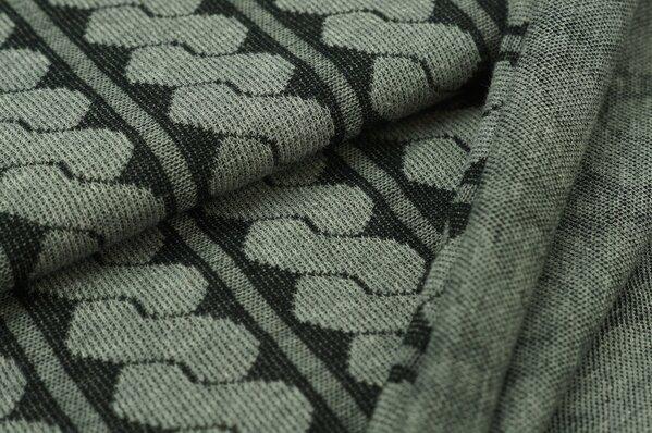 Jacquard-Jersey Strickstoff Retro Zopf-Muster grau Melange
