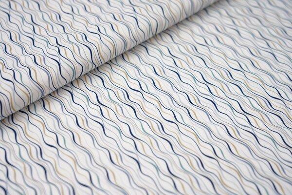 Baumwollstoff mit Wellenlinien weiß / jeansblau / dunkelblau / beigegelb / hellblau