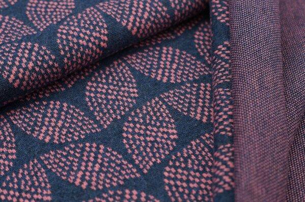 Jacquard-Sweat Mia altrosa Blätter Muster auf navy blau Melange