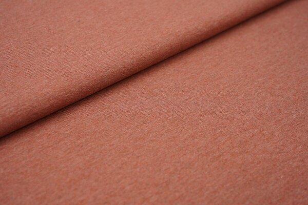 Baumwoll-Jersey Recycelt einfarbig uni rostrot meliert