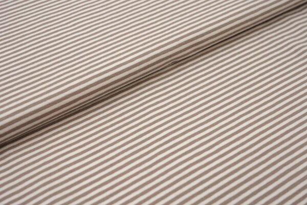 Baumwoll-Jersey Streifen Ringel creme offe white / taupe braun