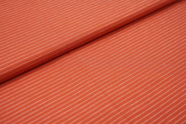 Baumwoll-Jersey zarte weisse gepunktete streifen auf rostrot