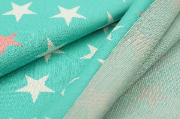 Jacquard-Sweat Ben off white und koralle Sterne auf seegrün
