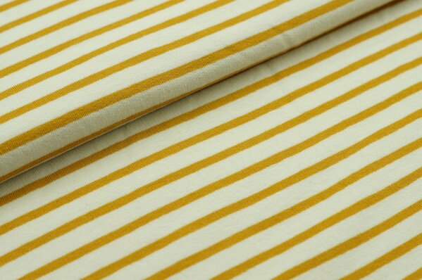 XXL Sommersweat MARIE Streifen mittel senf ocker gelb creme