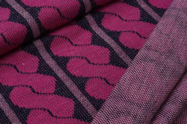 Jacquard-Jersey Strickstoff Retro Zopf-Muster pink / navy blau / grau Melange