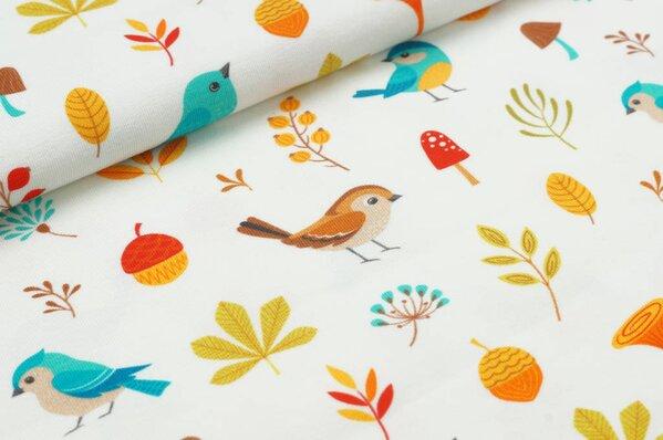 Baumwoll-Jersey Digitaldruck Herbst Vögel Blätter Pilze Eicheln auf off white