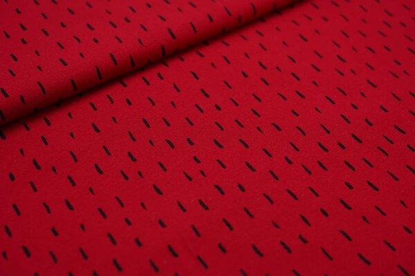 Baumwoll-Jersey schwarze getupfte Striche auf rot