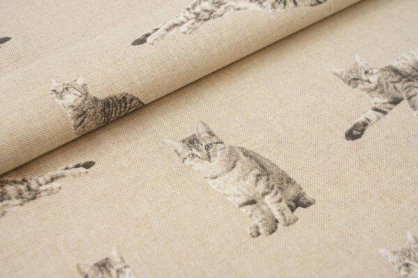Canvas-Stoff Dekostoff in Leinenoptik Katzen natur / grau / weiß