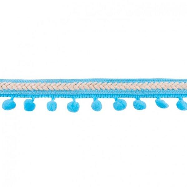 Bommelborte Fischgrät aqua blau / beige 20 mm breit Pompons 10 mm