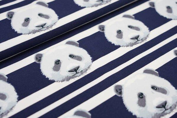 Baumwoll-Jerseystoff Pandakopf auf Streifen dunkelblau / weiß