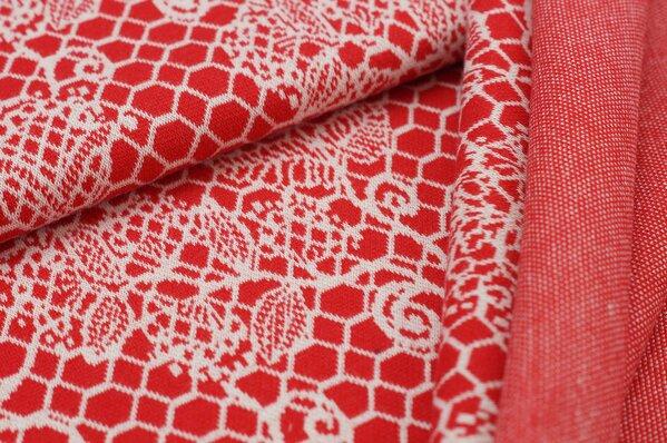 Jacquard-Sweat Ben off white Blumen Muster auf rot