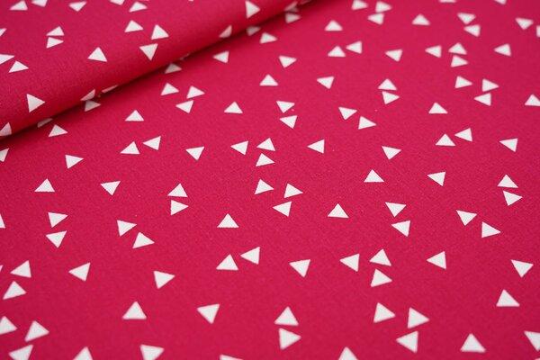 Baumwollstoff Baumwolle amarant pink mit weißen Dreiecken