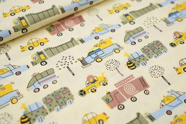 Baumwolle bunte Fahrzeuge mit Tieren Feuerwehrauto Lkw Taxi auf hellgelb