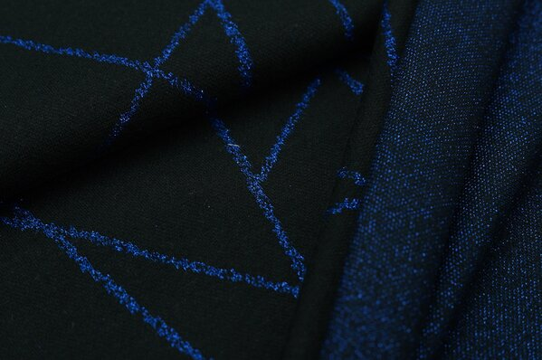 Jacquard-Sweat Ben royalblau Lurex Glitzer Streifen auf schwarz