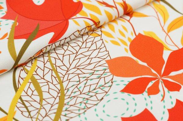 Baumwoll-Jersey Digitaldruck Herbst Blätter Muster groß auf off white