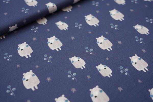 Digitaldruck Baumwoll-Jersey kleiner Bär mit Pflanzen auf dunkelblau