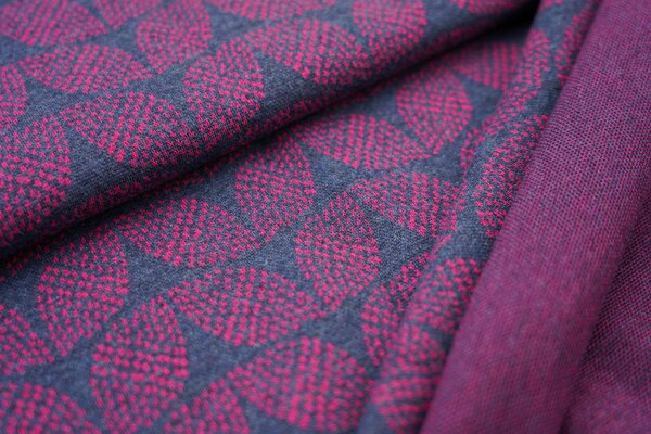 Jacquard-Sweat Mia amarant pinkes Blätter Muster auf navy blau Melange