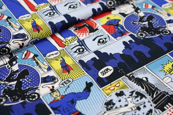 Baumwoll-Jersey Comic Style Superhelden und Schurken blau / rot / weiß / gelb
