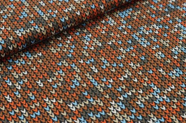 Baumwoll-Jersey mit kleinen Herzchen in orange rotbraun braun beige hellblau