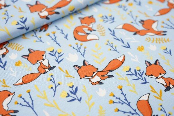 Baumwoll-Jersey Füchse und Blumen auf hellblau Fuchs Blätter