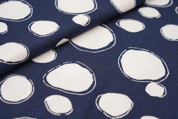 Viskose-Jersey mit XXL Punkten dunkelblau / weiß