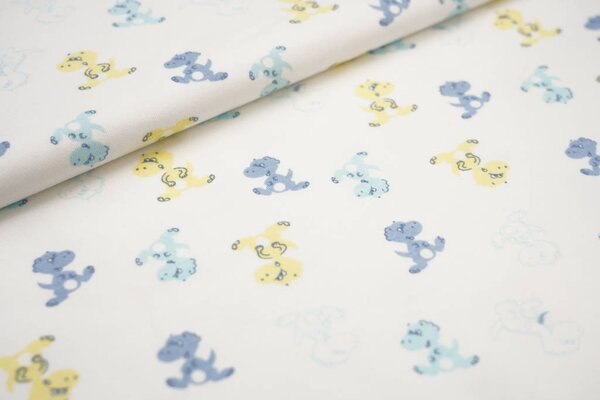 Interlock Jersey Baby Drachen blau / gelb auf weiß