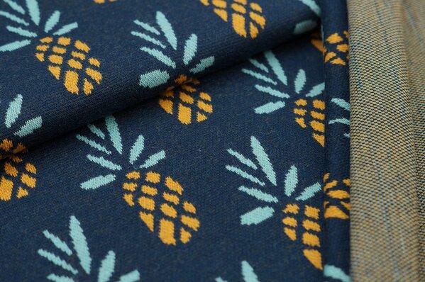 Jacquard-Sweat Ben Ananas navy blau / senf / eisblau