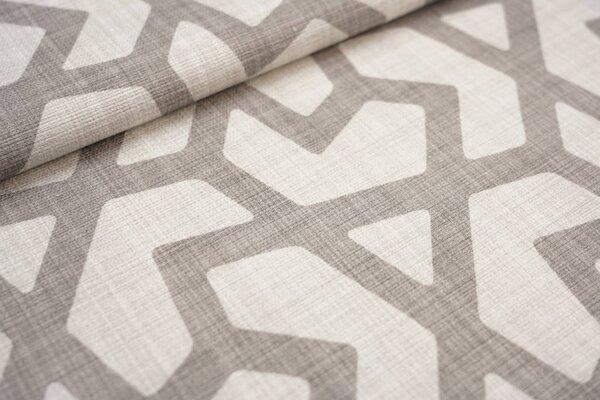 Canvas-Stoff Dekostoff großes geometrisches Muster hell beige / graubraun