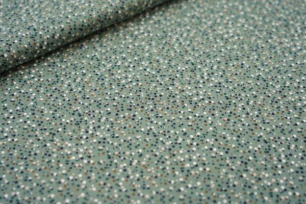 Baumwoll-Jersey kleine unregelmäßige Punkte grün / dunkelgrün / braun / weiß