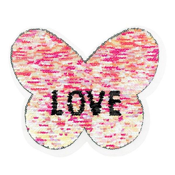 Applikation Schmetterling mit LOVE Schriftzug pink Wendepailletten Aufnäher