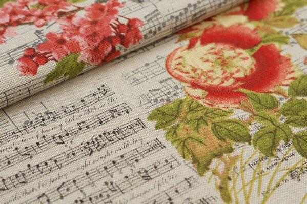 Canvas-Stoff Dekostoff in Leinenoptik Musiknoten und Blumen natur / rot / grau