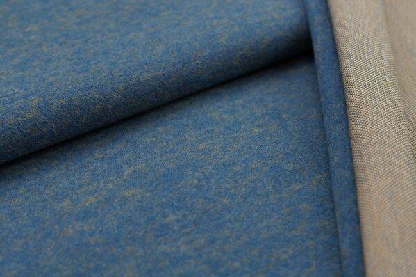 Kuschel Jacquard-Sweat Max Uni taupe blau mit senf