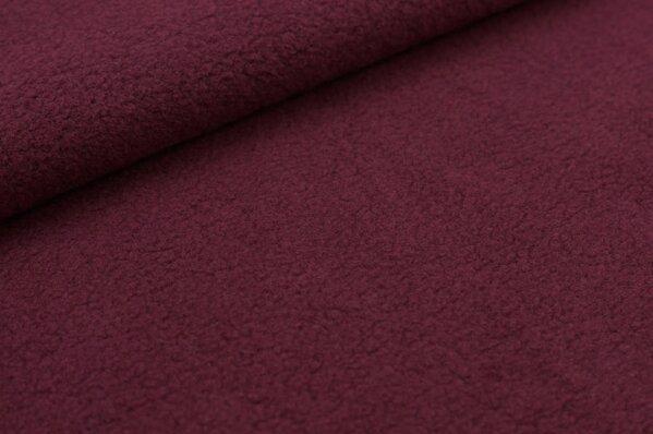 Baumwoll-Fleece uni bordeaux rot