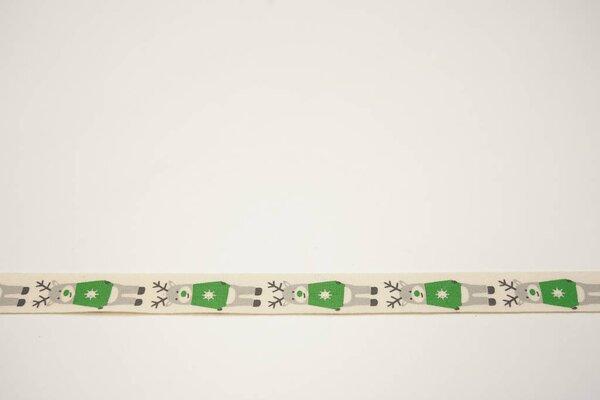 Webband Rentiere in grau grün Weihnachten auf natur 15 mm Zierband Dekoband