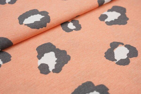 Dekostoff in Leinenoptik großes Leoparden Muster apricot / grau / weiß