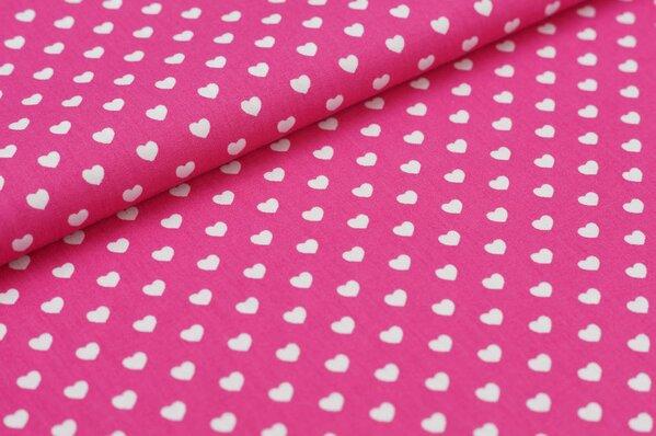 Baumwollstoff Baumwolle Herzen pink / weiß