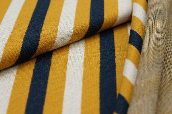 Jacquard-Sweat Ben diagonale Streifen senf / navy blau / off white
